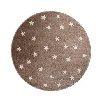 Covor rotund KICOTI Stars, ø 133 cm, maro-alb imagine
