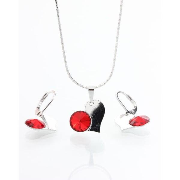 Set náhrdelníku a náušnic Yasmine Red Heart