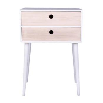 Noptieră din lemn exotic House Nordic Rimini, cadru alb imagine