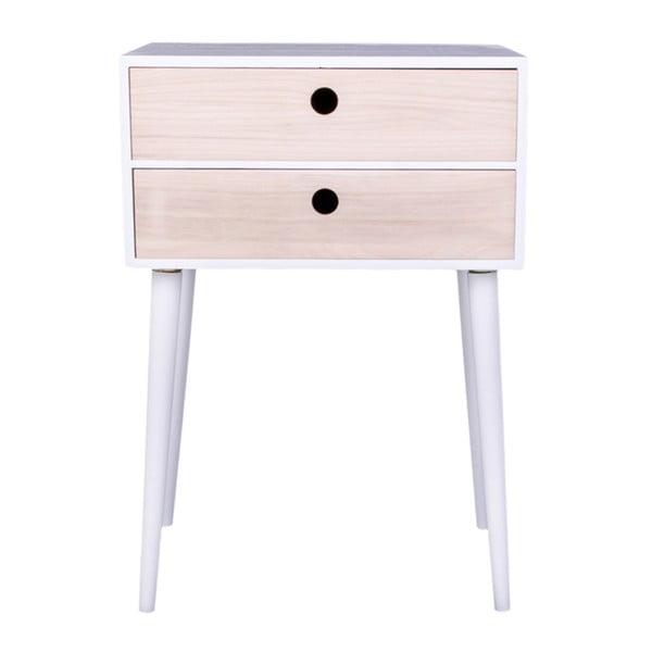 Noptieră din lemn exotic House Nordic Rimini, cadru alb