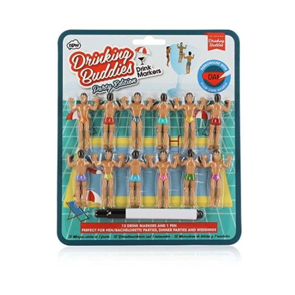 Zestaw 12 znaczników na szklanki NPW Drinking Buddies Bumper Pack