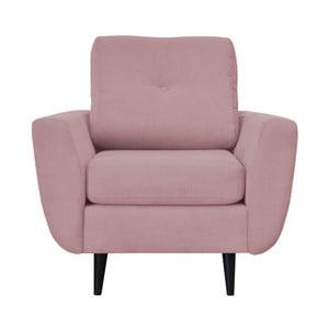 Růžové křeslo s tmavými nohami Mazzini Sofas Cedar