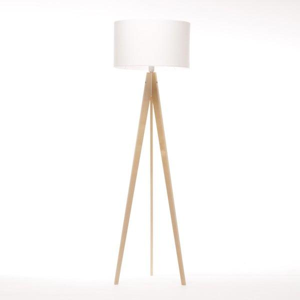 Bílá stojací lampa Artist, bříza, 150 cm