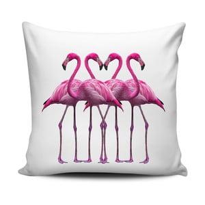 Růžovobílý polštář Home de Bleu Pink Flamingo Friends, 43x43cm