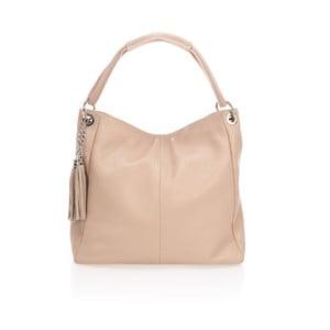 Růžovobéžová kožená kabelka Lisa Minardi Kreda
