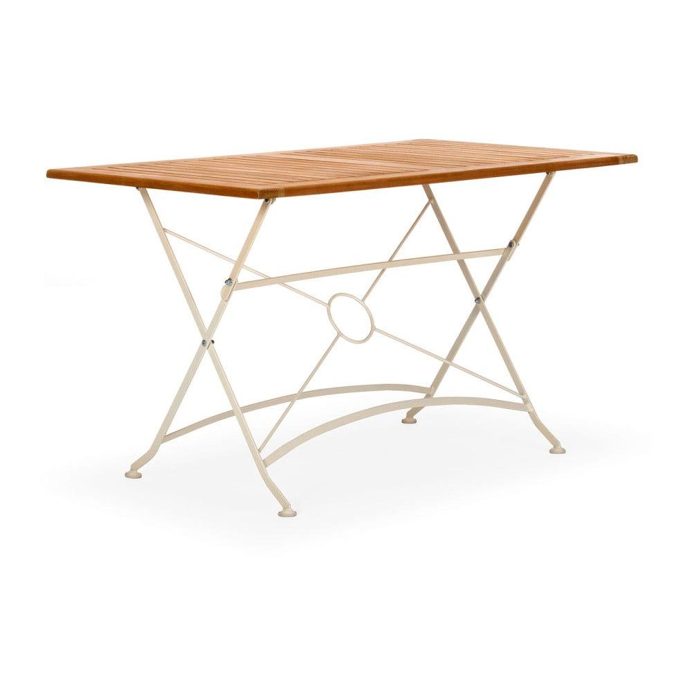 Bílý skládací zahradní stůl z akátového dřeva SOB