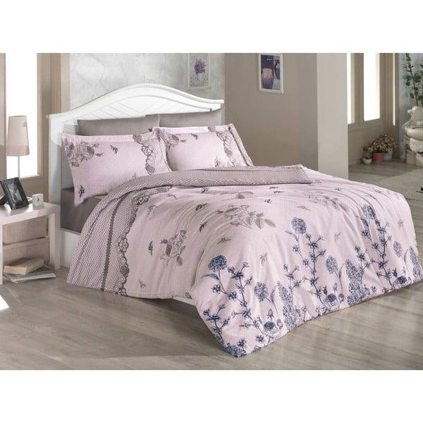 Lenjerie de pat cu cearșaf Anita Powder, 200 x 220 cm