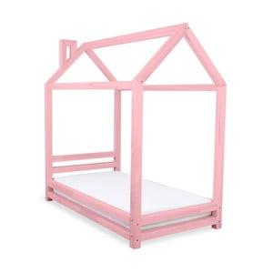Pat pentru copii din lemn de pin Benlemi Happy, 80 x 180 cm, roz