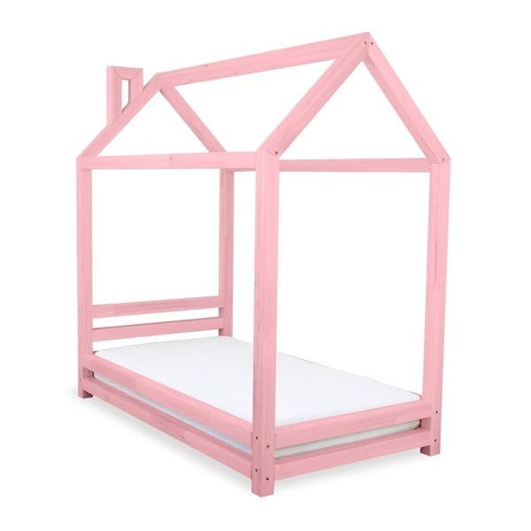 Dětská růžová postel z borovicového dřeva Benlemi Happy,90x180cm
