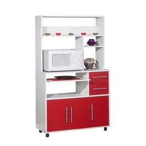 Červeno-bílý pojízdný kuchyňský úložný systém s policemi Symbiosis Cesar