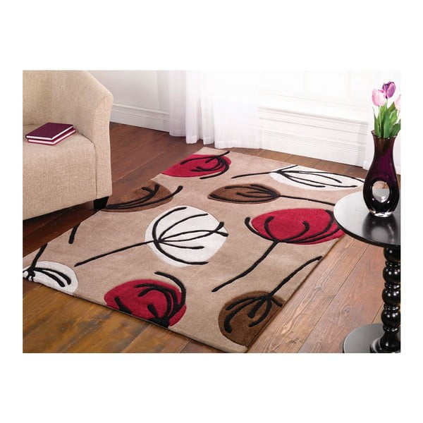 Koberec Fifties Floral 160x220 cm, červený