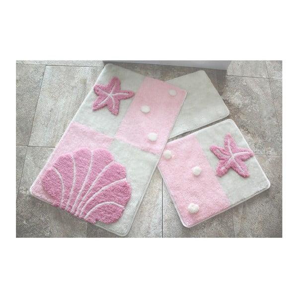 Knit Knot 3 db-os világos rózsaszín fürdőszobai kilépő szett tengeri motívummal
