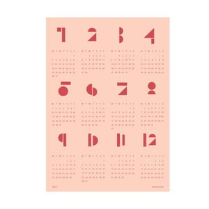 Calendar de perete SNUG Toy Blocks 2017, roz