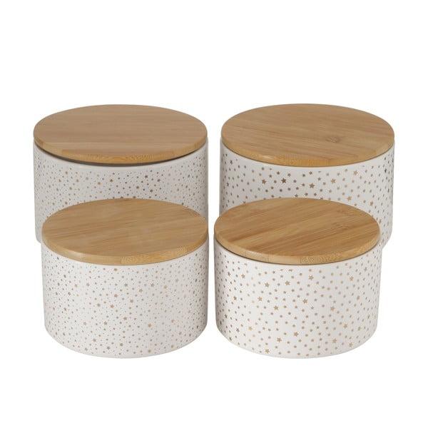 Set 4 borcane cu capac din bambus Boltze Twinkle, alb