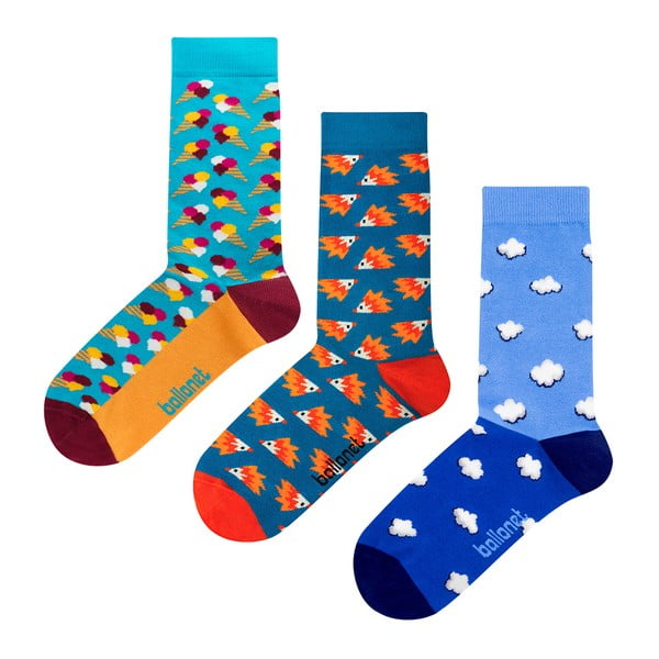 Zestaw 3 par skarpetek Ballonet Socks Novelty Blue w opakowaniu podarunkowym, rozmiar 36 - 40