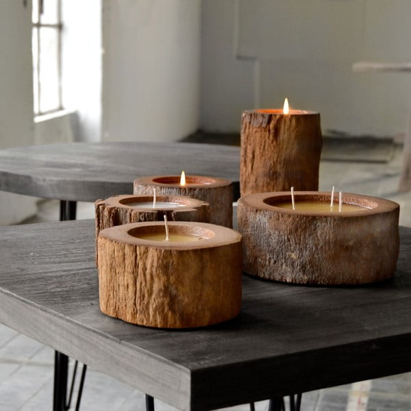 Palmová svíčka Legno se včelím voskem, 500 hodin hoření