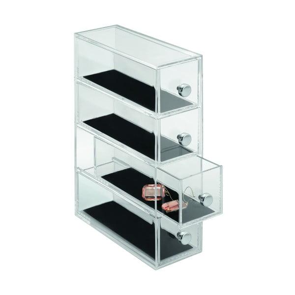 Transparentní oganizér se 4 šuplíky iDesign Clarity, výška25,5cm