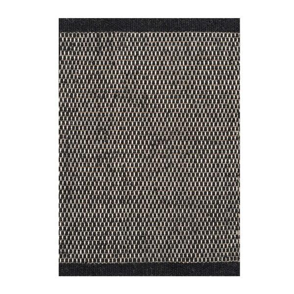 Vlněný koberec Asko, 80x250 cm, černý