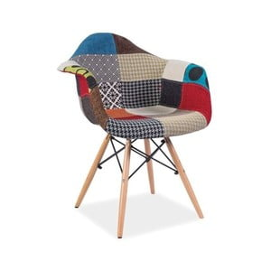 Barevná jídelní židle s dřevěnýma nohama Signal Denis Patchwork