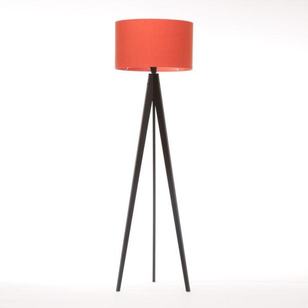 Červená stojací lampa Artist, černá lakovaná bříza, 150 cm