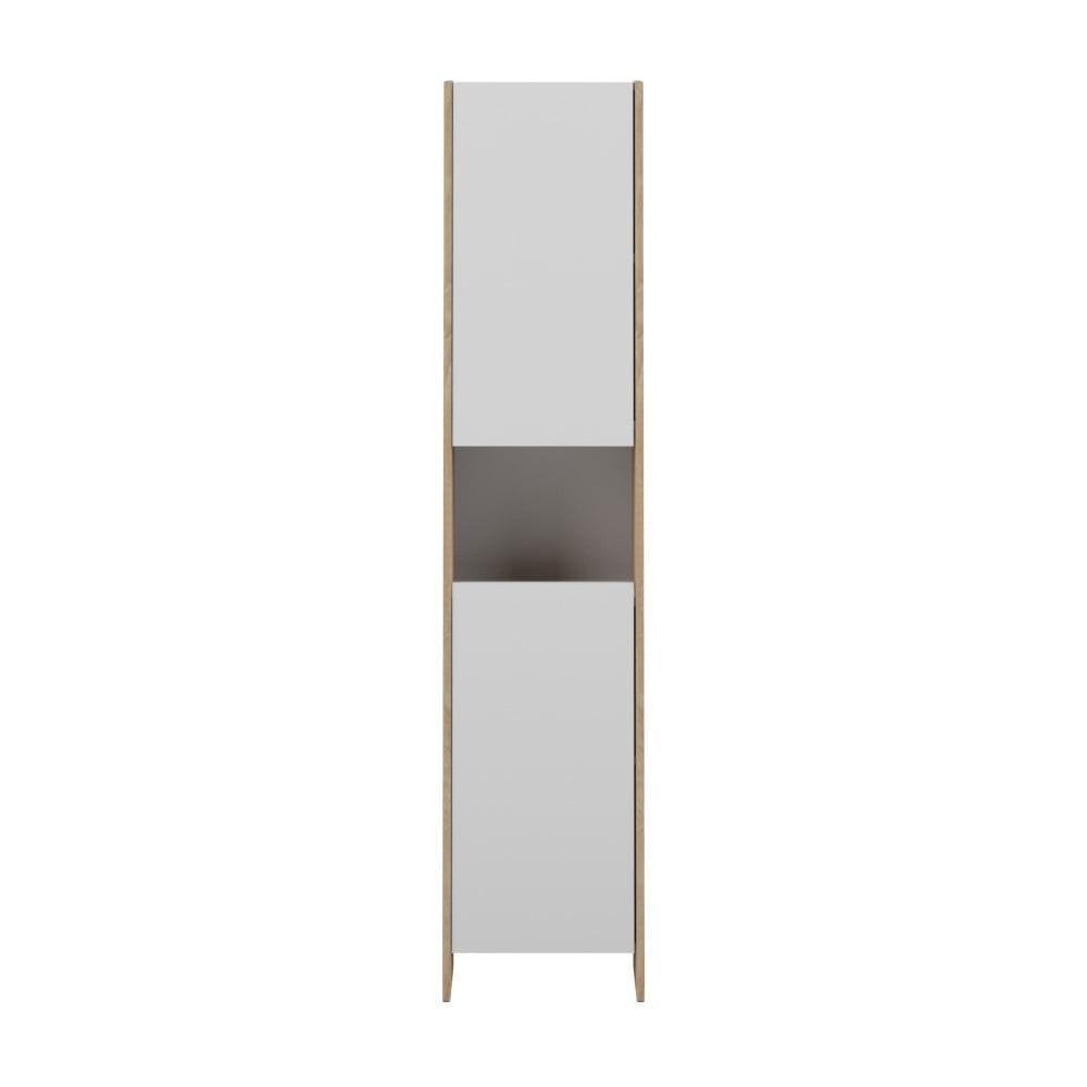 Bílá koupelnová skříňka s hnědým korpusem Symbiosis Auben,šířka38,2cm