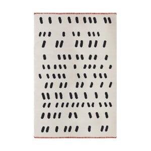 Ručně tkaný krémový vlněný koberec s černými detaily Art For Kids Dashed , 160x230cm