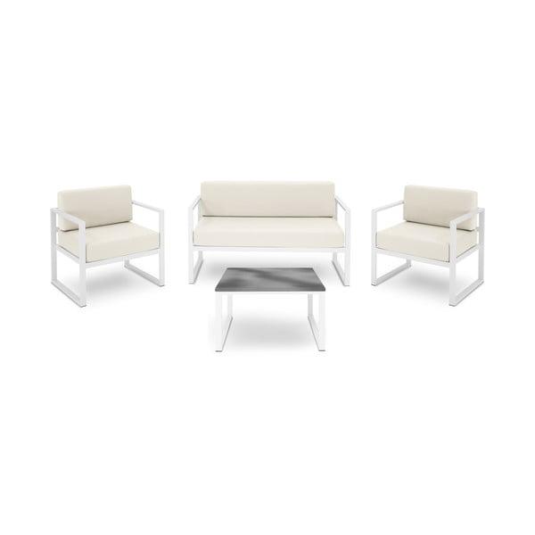 Set záhradného nábytku pre 4 osoby v béžovej farbe a v bielom ráme Calme Jardin Nicea