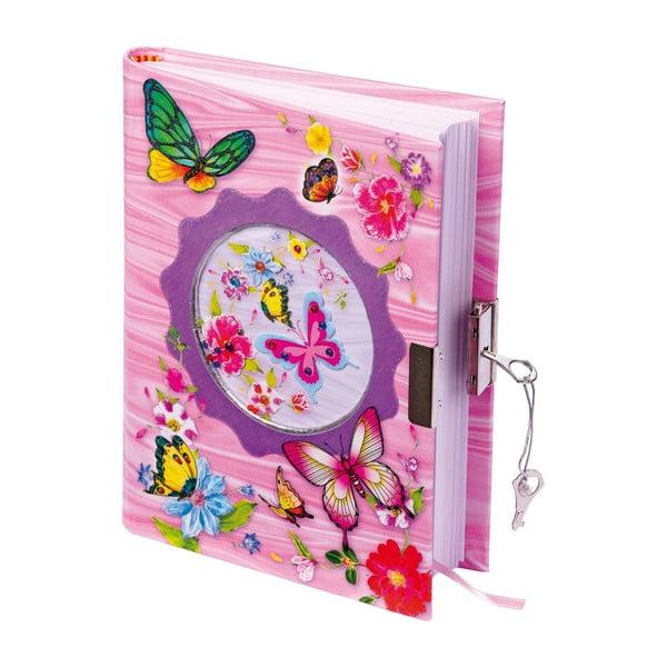 Butterfly rózsaszín napló gyerekeknek, zárral és 2 kulccsal - Legler