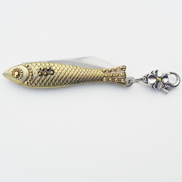 Vánoční český nožík rybička se zlatými krystaly, v plechové krabičce