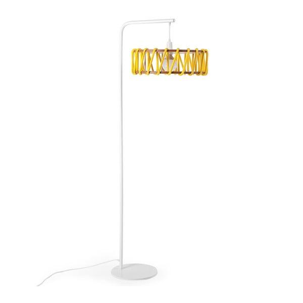 Macaron állólámpa fehér szerkezettel és nagy sárga lámpabúrával - EMKO