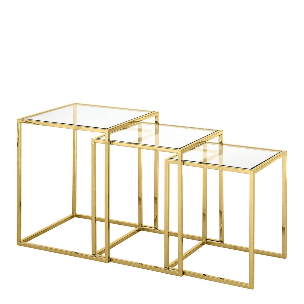 Sada 3 odkládacích stolků ve zlaté barvě Artelore Nicola