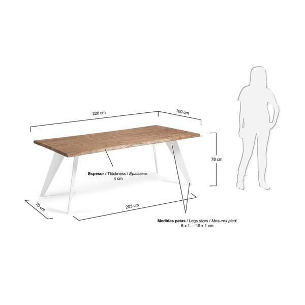 Jídelní stůl s hnědou deskou a bílým podnožím La Forma Nack, 100x220cm