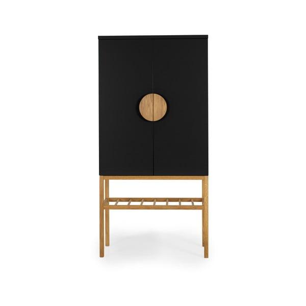 Dulap cu picioare din lemn de stejar Tento Scoop, înălțime 162 cm, negru