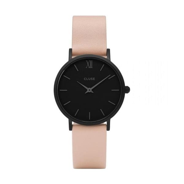 Dámske hodinky s koženým remienkom a čiernym ciferníkom Cluse Minuit