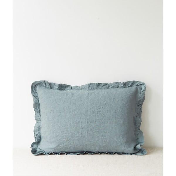Světle modrý lněný povlak na polštář s řaseným lemem Linen Tales, 50 x 60 cm