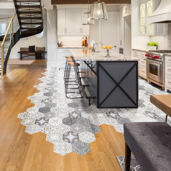 Sada 10 samolepiek na podlahu Ambiance Floor Stickers Hexagons Emilana, 40×90 cm