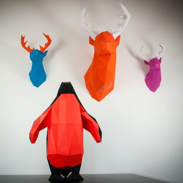 Papírová trofej Jelen XL, oranžovo-modrý