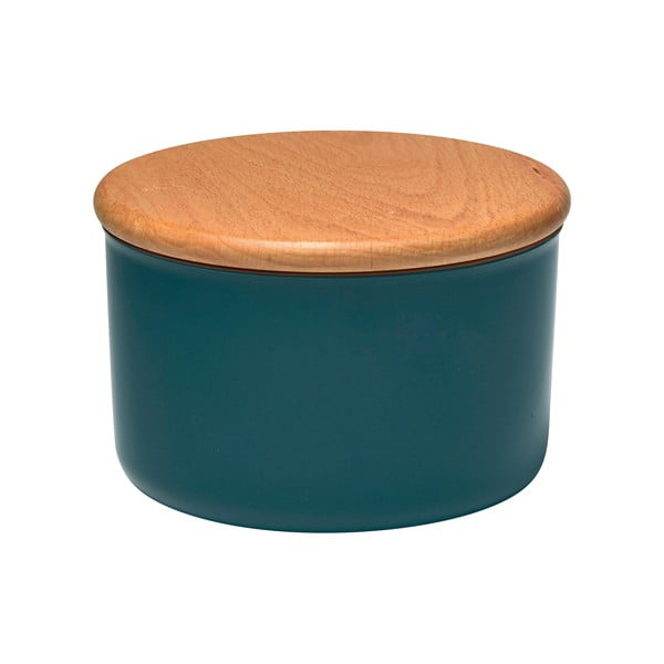 Recipient cu capac din lemn Emile Henry, 1 l, albastru închis
