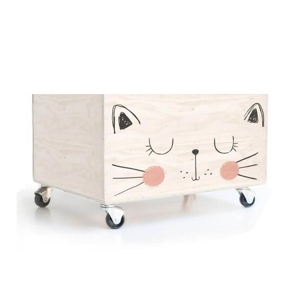 Dřevěná krabice na kolečkách Little Nice Things Cat