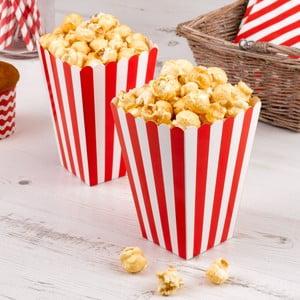 Sada 8 červených papírových krabiček na popcorn Neviti Carnival Stripes