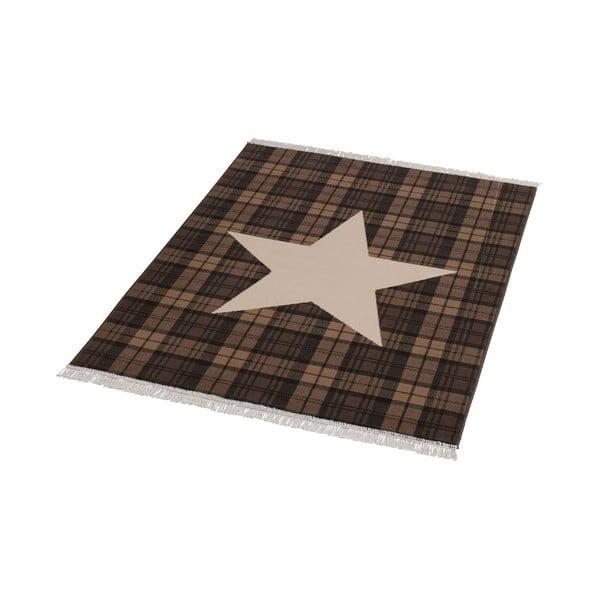 Koberec Fringe - hnědá hvězda,140x200cm