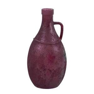Fialová skleněná váza s uchem z recyklovaného skla Ego Dekor, výška 26 cm