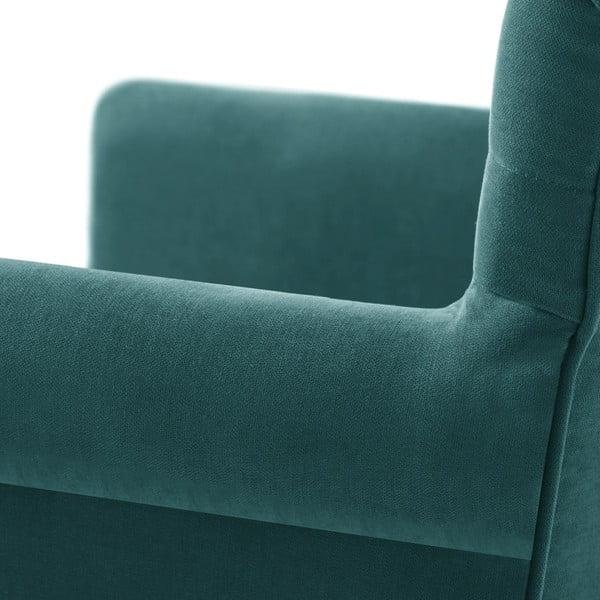 Tyrkysová židle s tmavě hnědými nohami z bukového dřeva Ted Lapidus Maison Flacon
