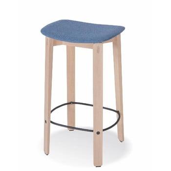 Scaun de bar din lemn de stejar Gazzda Nora, șezut albastru imagine