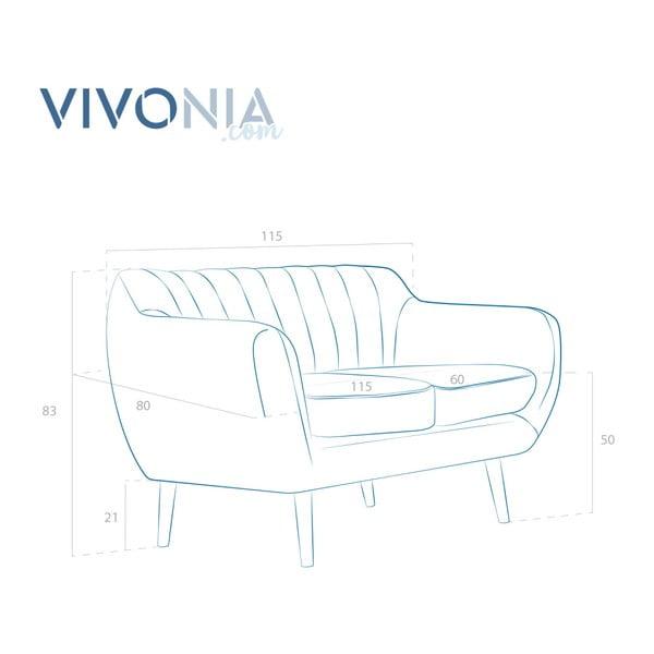Canapea 2 locuri cu picioare negre Vivonia Kennet, piersică