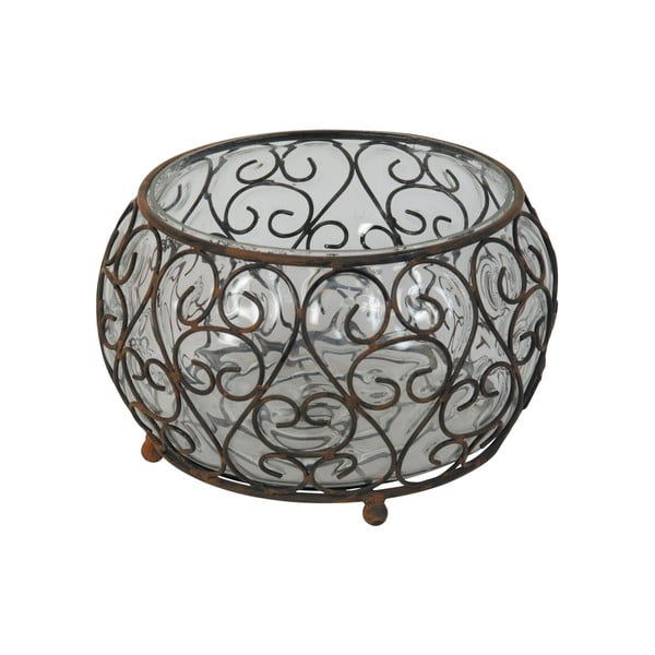 Skleněný svícen s kovovými detaily Antic Line Verre, Ø 21,5 cm