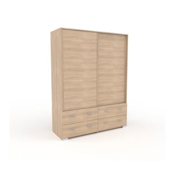 Dvoudveřová šatní skříň v dekoru dubového dřeva se 4 zásuvkami Parisot Alix