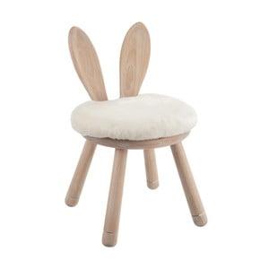 Dřevěná stolička s bílým podsedákem J-Line Rabbit