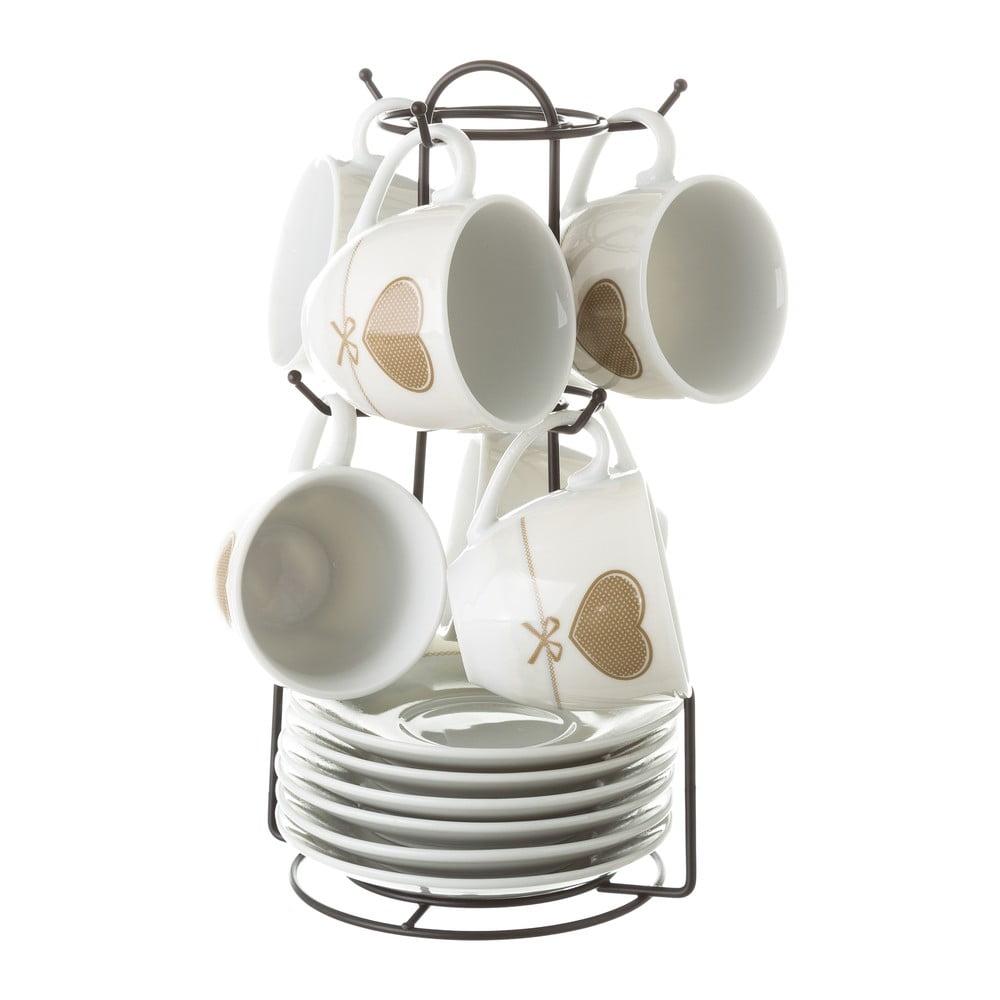 Sada 6 šálků s podšálky na kovovém stojanu Unimasa Heart