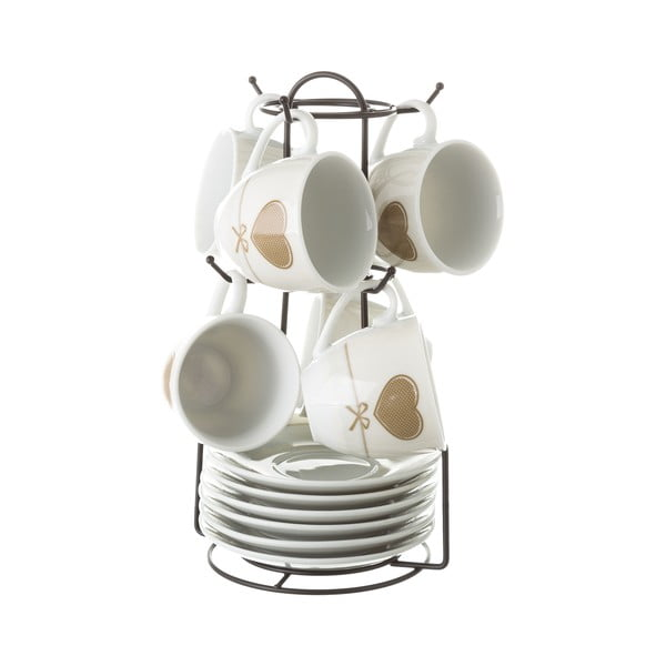 Sada 6 šálok s tanierikom na kovovom stojanu Unimasa Heart